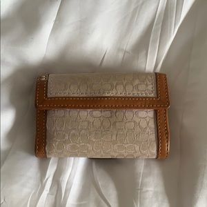 Coach Bags - Coach wallet purple base fabric tan leather trim